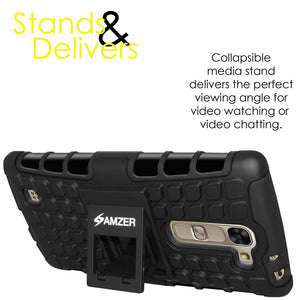 AMZER Shockproof Warrior Hybrid Case for LG G4c H525N - Black/Black