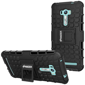 AMZER Warrior Hybrid Case for Asus Zenfone Selfie ZD551KL - Black/Black