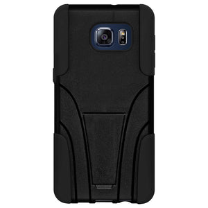 AMZER Double Layer Hybrid Case with Kickstand - Black/ Black for Samsung Galaxy S6 edge Plus SM-G928F