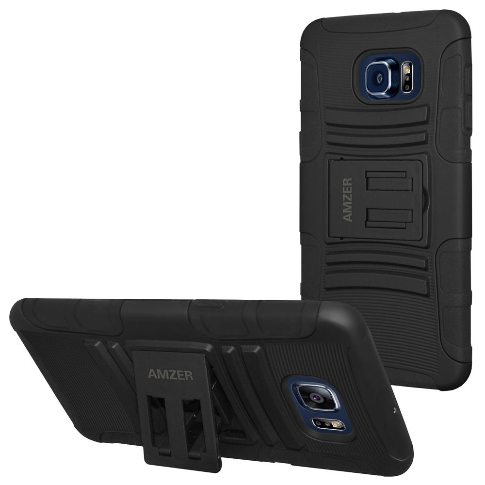AMZER Hybrid Kickstand Case Black for Samsung Galaxy S6 edge Plus SM-G928F