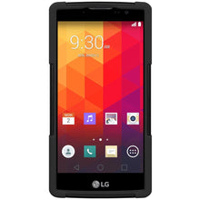 Load image into Gallery viewer, AMZER Double Layer Hybrid Case with Kickstand - Black/ Black for LG Destiny L21G
