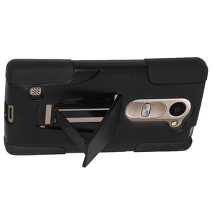 AMZER Double Layer Hybrid Case with Kickstand - Black/ Black for LG Destiny L21G