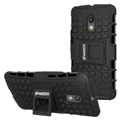AMZER Shockproof Warrior Hybrid Case for Motorola Moto X Play - Black/Black