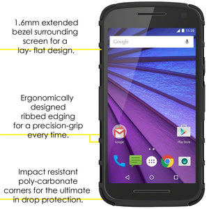 AMZER Warrior Hybrid Case for Motorola Moto G 3rd Gen XT1540 - Black/Black