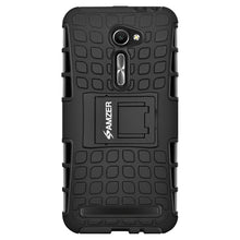 Load image into Gallery viewer, AMZER Shockproof Warrior Hybrid Case for Asus Zenfone 2 ZE500CL - Black/Black