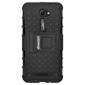 AMZER Shockproof Warrior Hybrid Case for Asus Zenfone 2 ZE500CL - Black/Black