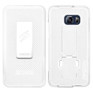 AMZER Shellster Hard Case Clip Holster for Samsung Galaxy S6 edge Plus - White