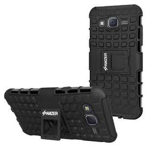 AMZER Hybrid Warrior Case for Samsung Galaxy J7 - Black/Black