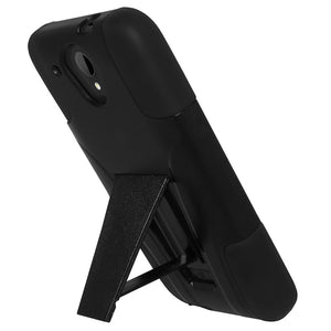 Amzer Double Layer Hybrid Case with Kickstand - Black/ Black for HTC Desire 520