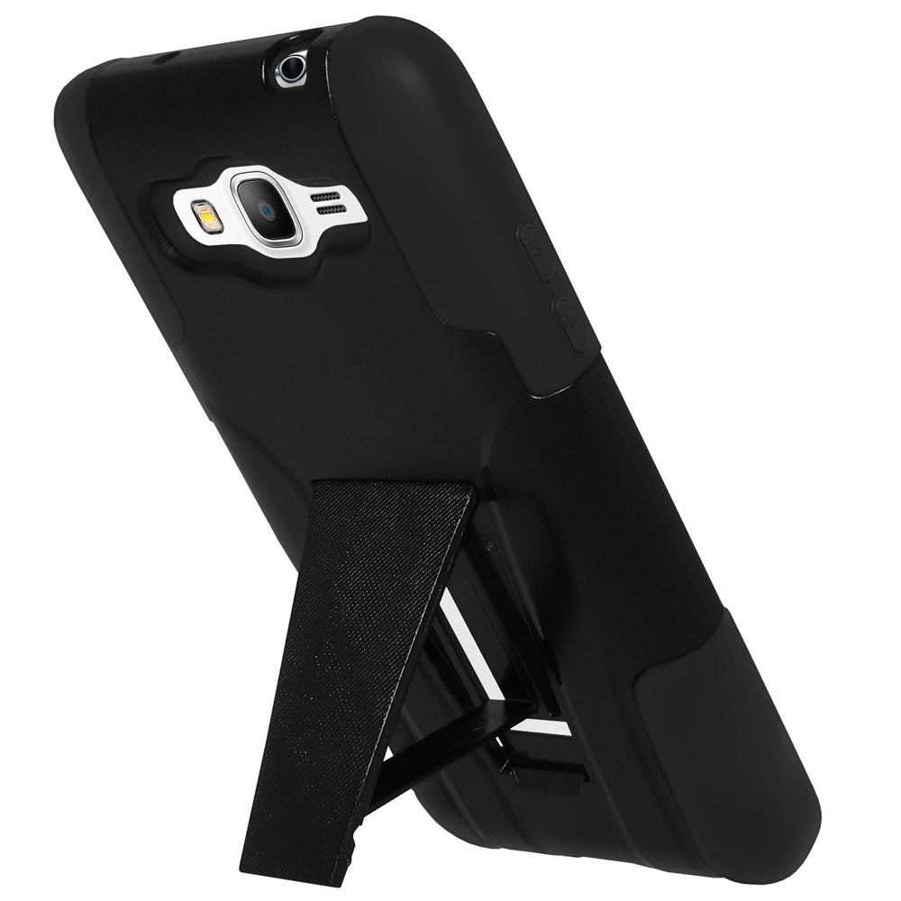 Amzer Double Layer Hybrid Case with Kickstand - Black/ Black for Samsung GALAXY Grand Prime SM-G530H