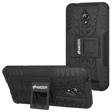 AMZER Shockproof Warrior Hybrid Case for Asus Zenfone Go ZC500TG - Black/Black