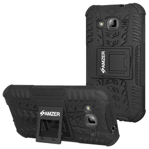 Amzer Hybrid Warrior Case - Black/ Black for Samsung GALAXY J3 2016 SM-J320F, Samsung GALAXY J3 SM-J3109