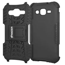 Load image into Gallery viewer, Amzer Hybrid Warrior Case - Black/ Black for Samsung GALAXY J3 2016 SM-J320F, Samsung GALAXY J3 SM-J3109