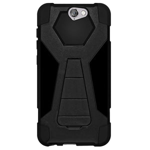 Amzer Dual Layer Hybrid KickStand Case - Black/ Black for HTC One A9