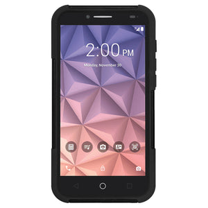 Amzer Double Layer Hybrid Case with Kickstand - Black/ Black for Alcatel Onetouch Fierce XL