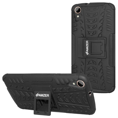 AMZER Shockproof Warrior Hybrid Case for HTC Desire 828 - Black/Black