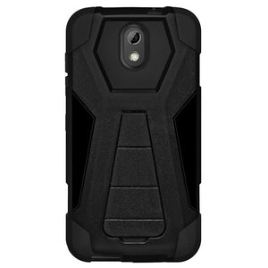 AMZER Dual Layer Hybrid KickStand Case - Black/Black For HTC Desire 526