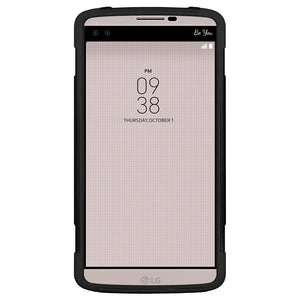 Amzer Dual Layer Hybrid KickStand Case - Black/ Black for LG V10