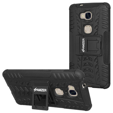AMZER Shockproof Warrior Hybrid Case for Huawei Honor 5X - Black/Black