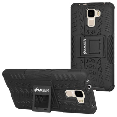 AMZER Shockproof Warrior Hybrid Case for Huawei Honor 7 - Black/Black