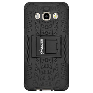 AMZER Shockproof Warrior Hybrid Case for Samsung Galaxy J7 2016 - Black/Black