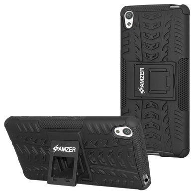 AMZER Shockproof Warrior Hybrid Case for Sony Xperia XA - Black/Black