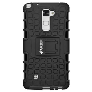 Amzer Hybrid Warrior Case - Black/ Black for LG Stylus 2