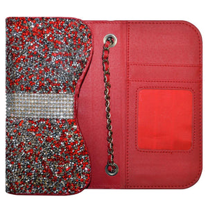 Universal 5 Inch Premium Dual Use Diamond Wallet Case - Red