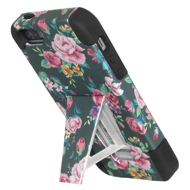 Amzer Double Layer Designer Hybrid Case with Kickstand - Tropical Romantic Colorful Roses Floral for iPhone SE, iPhone 5S, iPhone 5