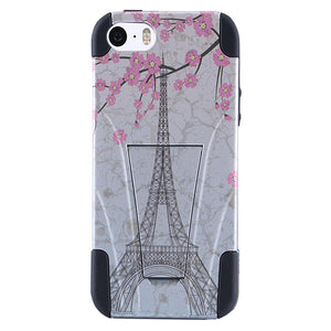 AMZER Double Layer Designer Hybrid Case with Kickstand for iPhone 5 - Vintage Eiffel Tower Paris Sakura Floral