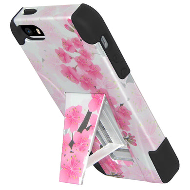 Amzer Double Layer Designer Hybrid Case with Kickstand - Sakura Cherry Blossom Exotic Floral for iPhone SE, iPhone 5S, iPhone 5