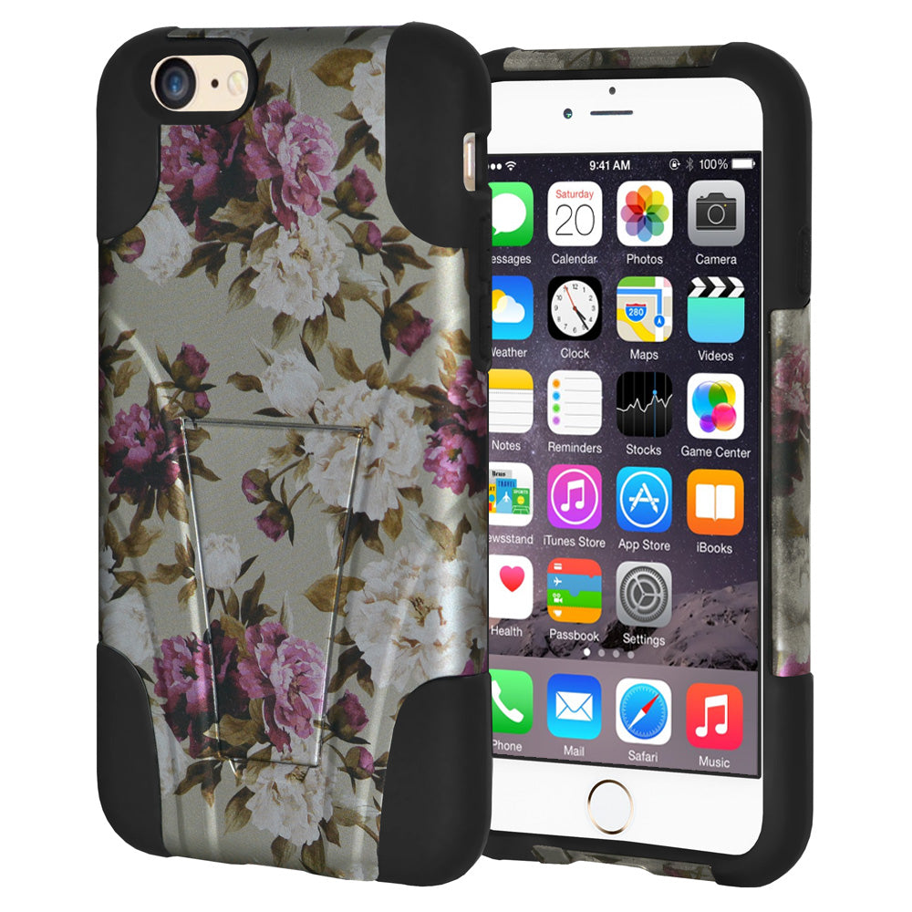 Amzer Double Layer Designer Hybrid Case with Kickstand - Romantic Pink White Roses Floral for iPhone 6s Plus, iPhone 6 Plus