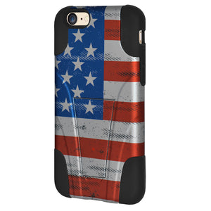 Amzer Double Layer Designer Hybrid Case with Kickstand - USA American Flag Grunge Stars Strips for iPhone 6s Plus, iPhone 6 Plus