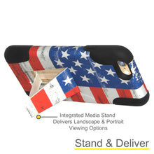 Load image into Gallery viewer, Amzer Double Layer Designer Hybrid Case with Kickstand - USA American Flag Grunge Stars Strips for iPhone 6s Plus, iPhone 6 Plus