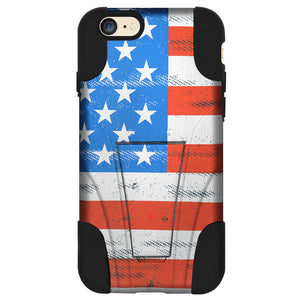 Amzer Hybrid Case Kickstand USA Flag Grunge Stars Strips for iPhone 6+ 6s+ Plus