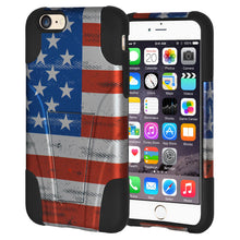 Load image into Gallery viewer, Amzer Hybrid Case with Kickstand USA American Flag Stars Strips for iPhone 6s 6