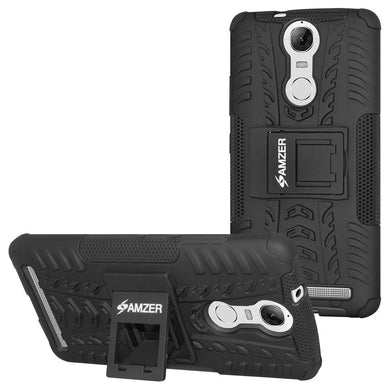 AMZER Shockproof Warrior Hybrid Case for Lenovo K5 Note- Black/Black
