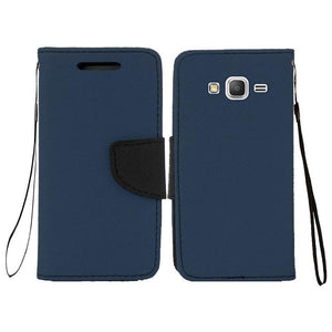 Leather Flip Wallet Credit Card Case - Dark Blue for Samsung GALAXY Go Prime G530A