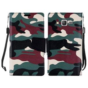 Leather Flip Wallet Credit Card Case - Military Camouflage Green for Samsung GALAXY Go Prime G530A