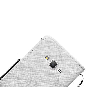 Leather Flip Wallet Credit Card Case - White for Samsung GALAXY Go Prime G530A