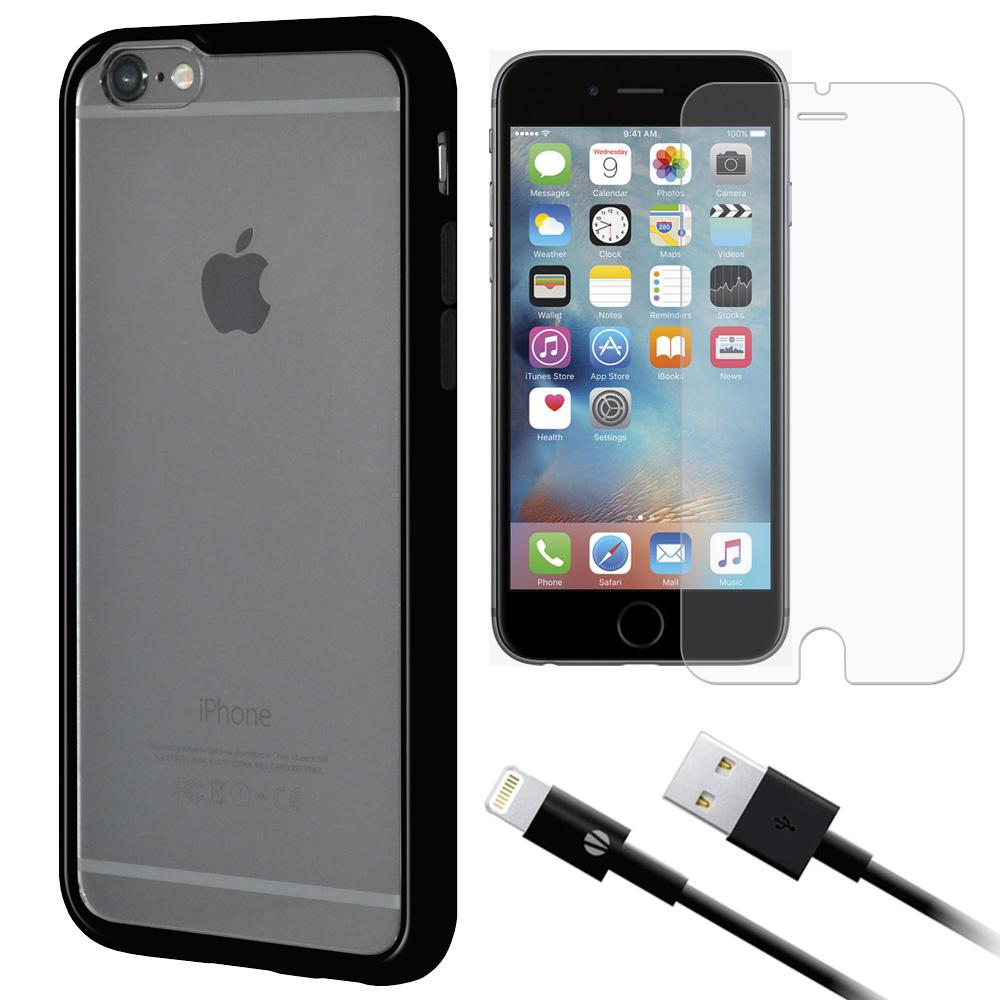 Combo Pack 1 SP Glass, 1 MFi BLK Cable, 1 Clear Case w/BLK Border for iPhone 6