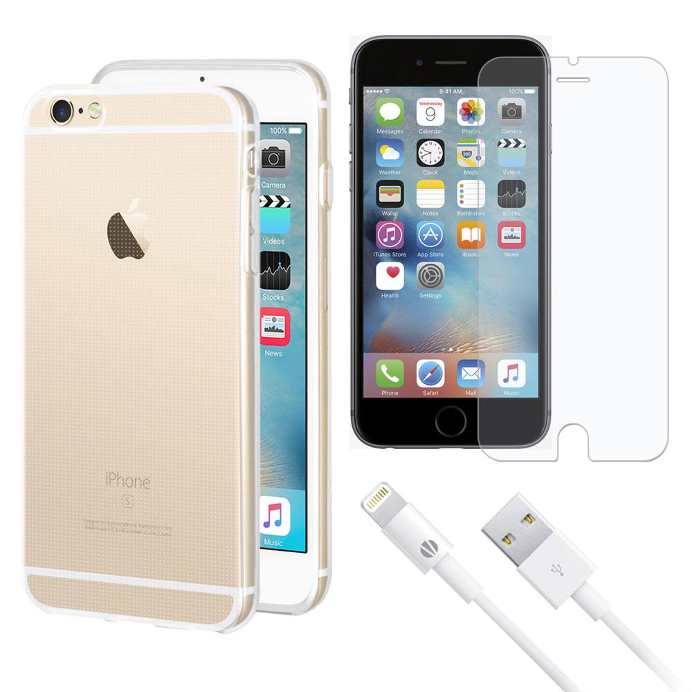 Combo Pack 1 SP Glass, 1 White MFi Cable, 1 Clear TPU Case for iPhone 6