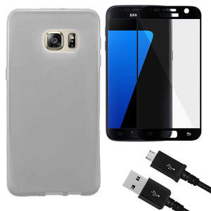 Combo Pack 1 FSP Glass, 1 BLK Micro Cable, 1 Clear TPU Case for Samsung GALAXY S7 SM-G930F