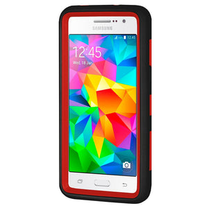 Hybrid Dual Layer U Kickstand Case - Red/ Black for Samsung GALAXY Go Prime G530A