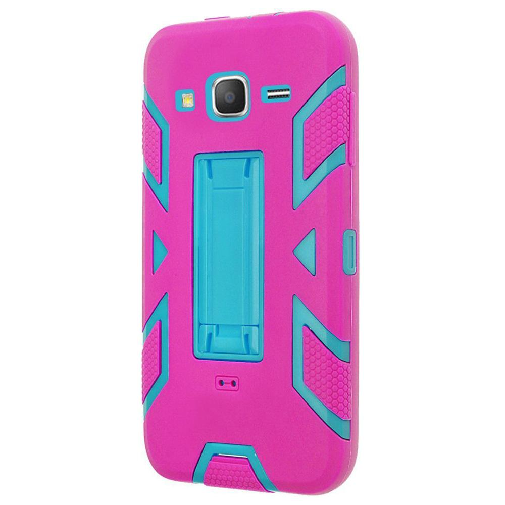 Premium Hip Vertical Hybrid Kickstand - Sky Blue/ Hot Pink for Samsung GALAXY Go Prime G530A
