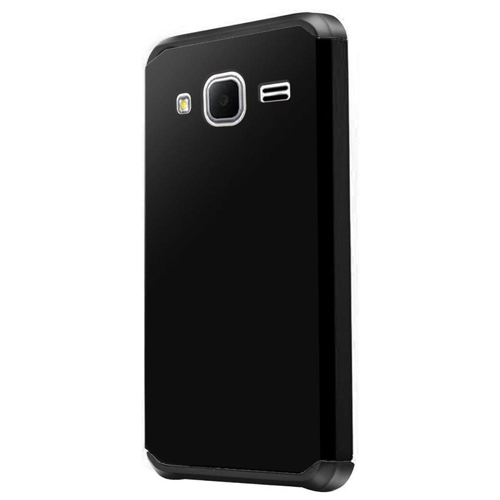 Premium Slim Hybrid Dual Layer Armor Case - Black/ Black for Samsung GALAXY Go Prime G530A