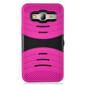 Premium Armor Case With Stand - Black/ Hot Pink for Samsung Galaxy On5