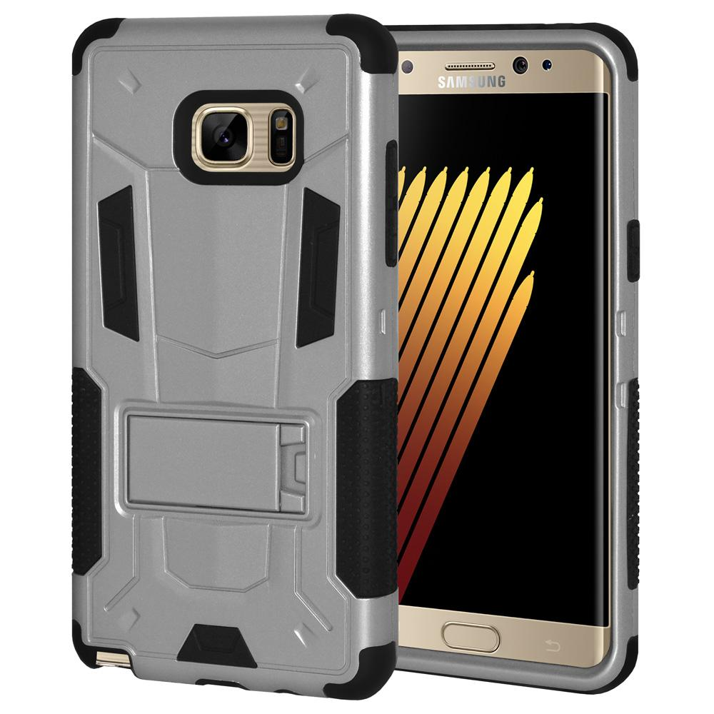 Hybrid Dual Layer Protective Case with Stand - Silver/ Black for Samsung Galaxy Note Fan Edition