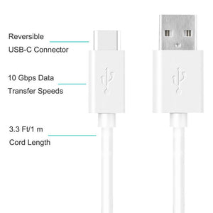Amzer Type A to USB Type C Fast Data Sync & Charging Cord (3.3 Ft/ 1M) - White
