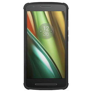 AMZER Shockproof Warrior Hybrid Case for Motorola Moto E 3rd Gen - Black/Black